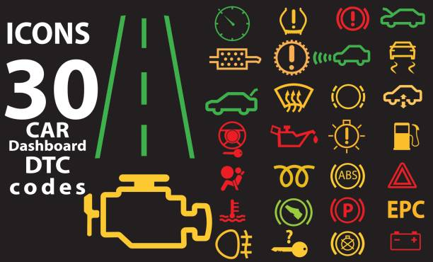 Set of 30 pictograms representing attention lights from car dashboards vector art illustration