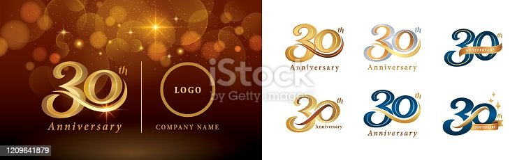 Set of 30th Anniversary logotype design, Thirty years Celebrating Anniversary Logo silver and golden, Vintage and Retro Script Number Letters, Elegant Classic Logo for Congratulation celebration event, invitation, greeting