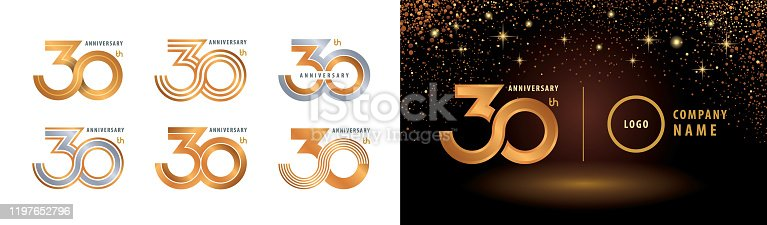 Set of 30th Anniversary logotype design, Thirty years anniversary celebration. 30 Years Celebrating Anniversary Logo silver and golden for celebration event, invitation, greeting, Infinity logo vector illustration, web template, flyer and booklet