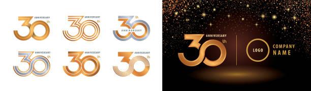 bildbanksillustrationer, clip art samt tecknat material och ikoner med set med 30-års jubileum logotypdesign - nummer 30