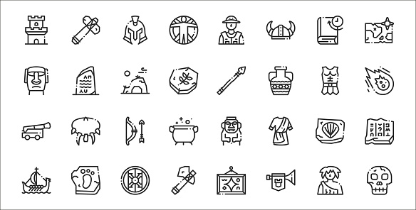 set of 32 history thin outline icons such as skull, horn, ax, ship, fossil, bow, meteor, spear, rosetta stone