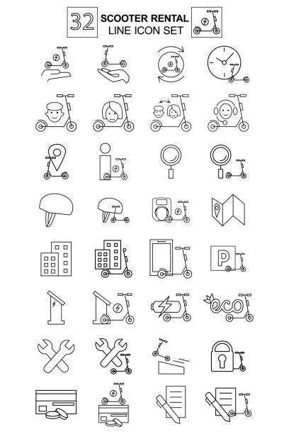 illustrazioni stock, clip art, cartoni animati e icone di tendenza di set of 32 linear thin icons of rent and share electric kick scooter. users, customers, padlock, helmet,  rental, app, cycling route, repair and search magnifier, charging and parking, time, deposit - monopattino elettrico