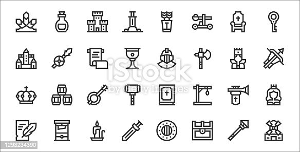 set of 32 medieval items thin outline icons such as windmill, treasure chest, sword, writing, trumpet, banjo, crossbow, helmet, spear