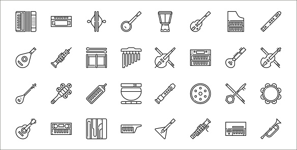 set of 32 music instruments thin outline icons such as trumpet, bassoon, keytar, ukulele, erhu, melodica, violin, cello, oboe