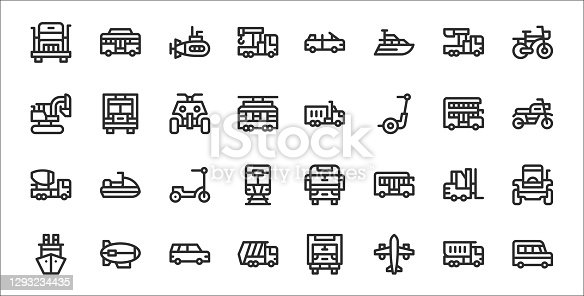 set of 32 transport thin outline icons such as van, airplane, garbage truck, ship, forklift, kick scooter, motorbike, truck, lorry