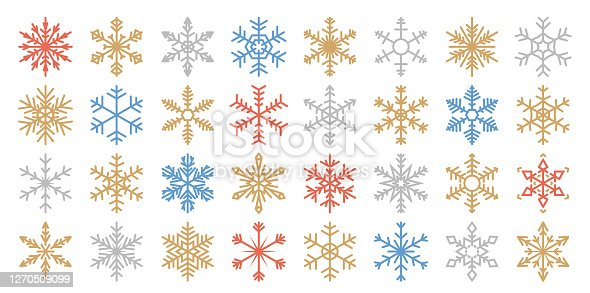 istock Set of 32 Various Color Vector Snowflakes 1270509099