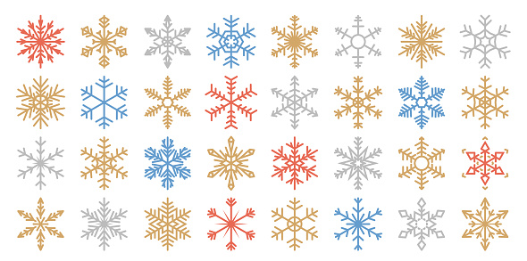 Set of 32 Various Color Vector Snowflakes