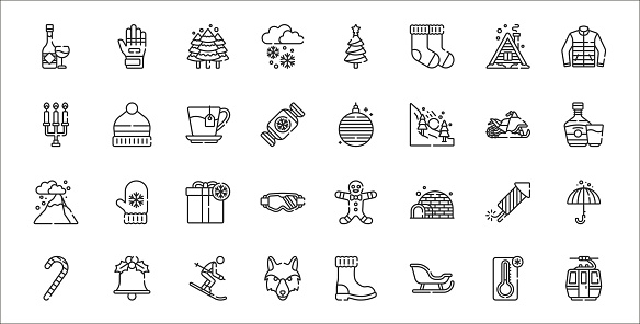 set of 32 winter thin outline icons such as cable car cabin, sled, wolf, candy cane, fireworks, gift, brandy, christmas ball, hat