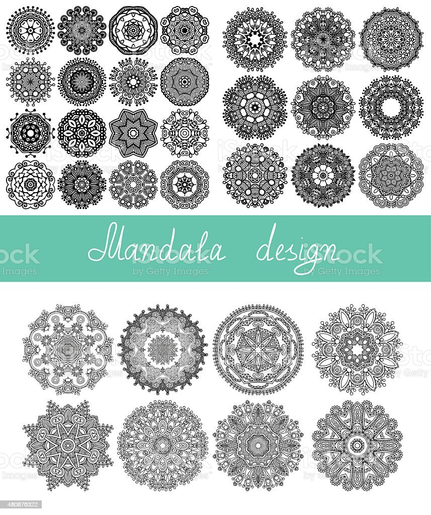 set of 33 mandala design, circle ornament collection for print vector art illustration