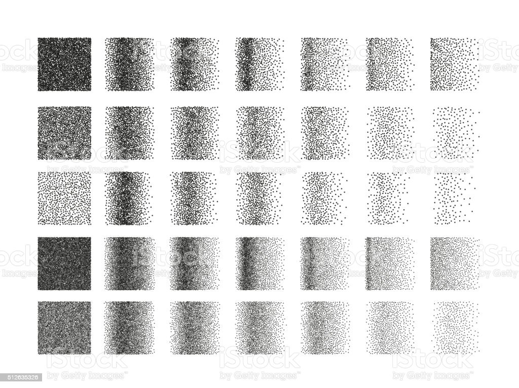 Set of 35 square stipple pattern for design. Tile spots vector art illustration
