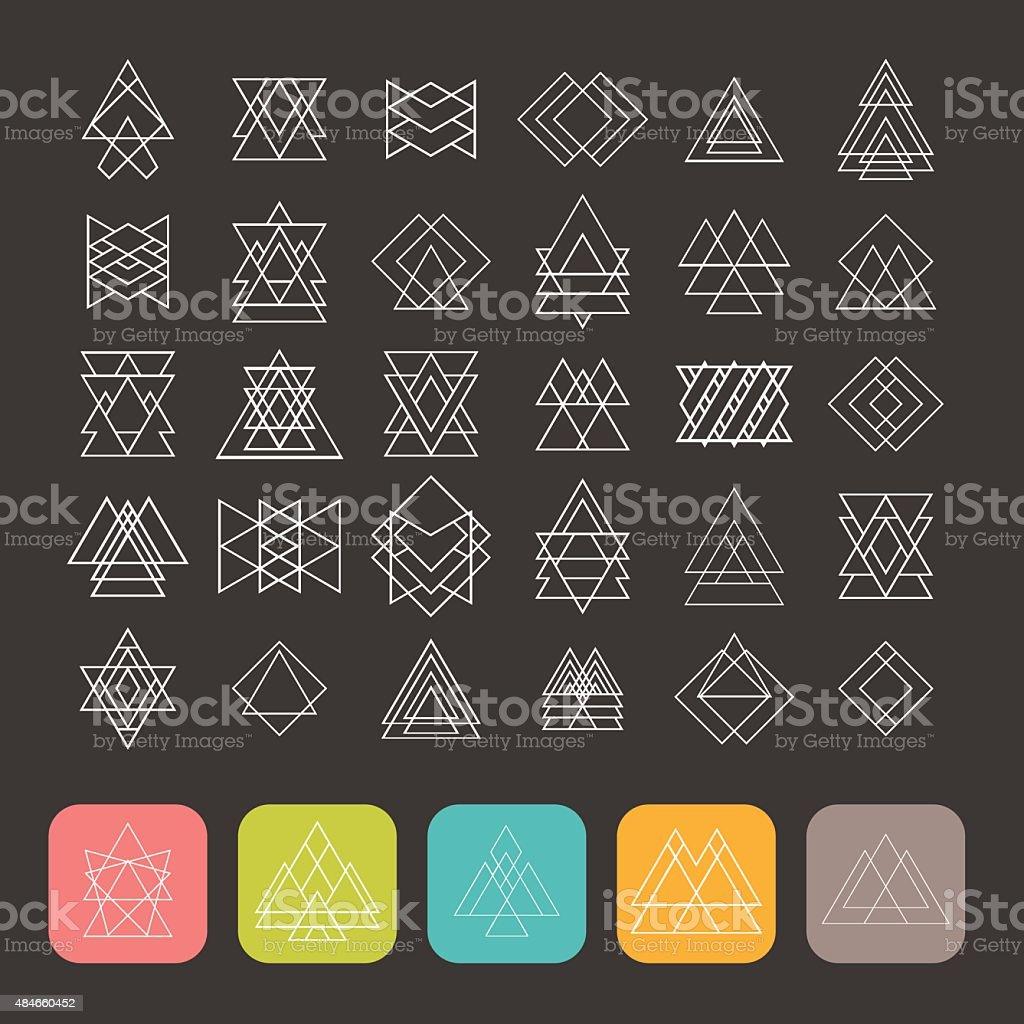 Set of 35 trendy geometric shapes. Hipster retro signs vector art illustration