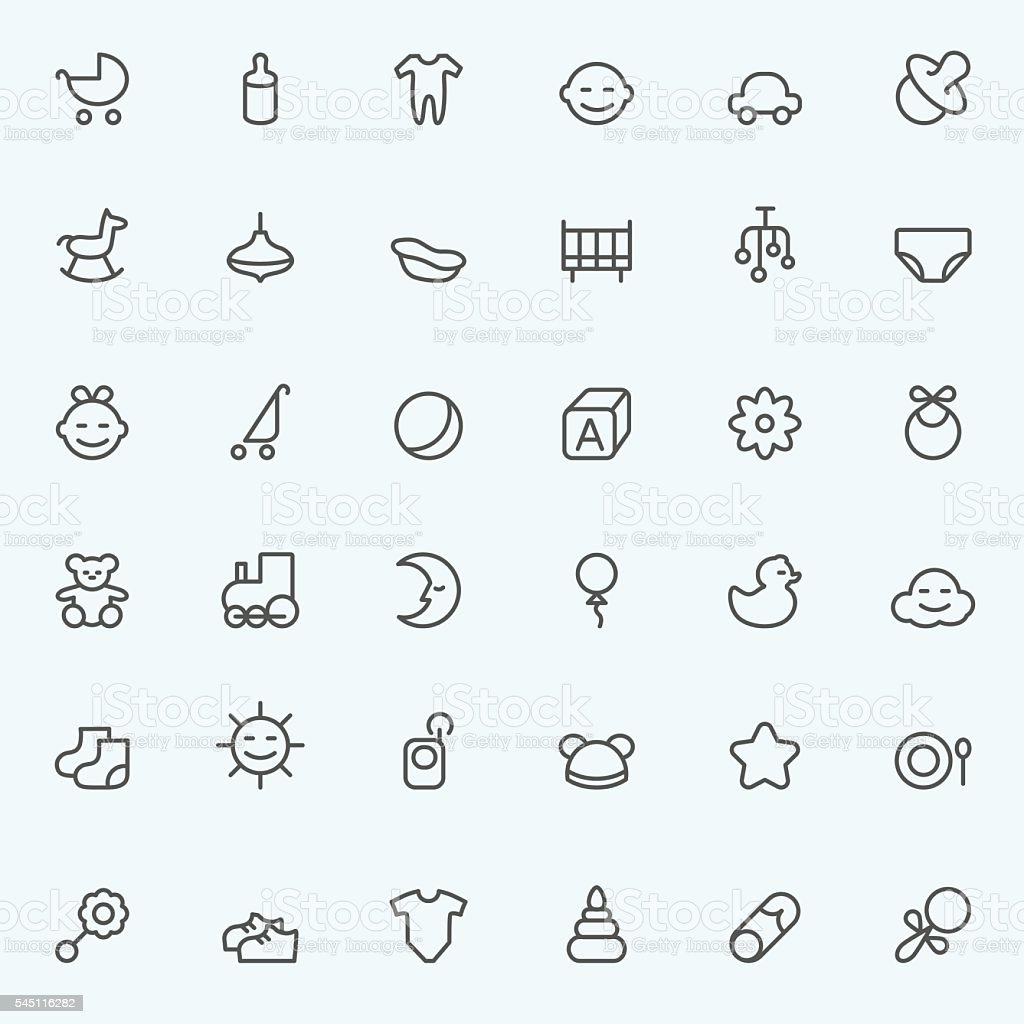 Set of 36 baby icons vector art illustration