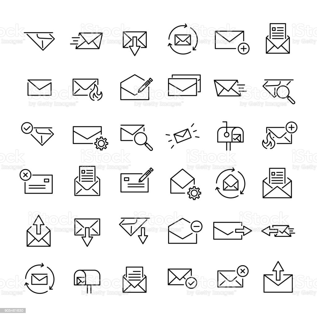 Set of 36 mail thin line icons vector art illustration