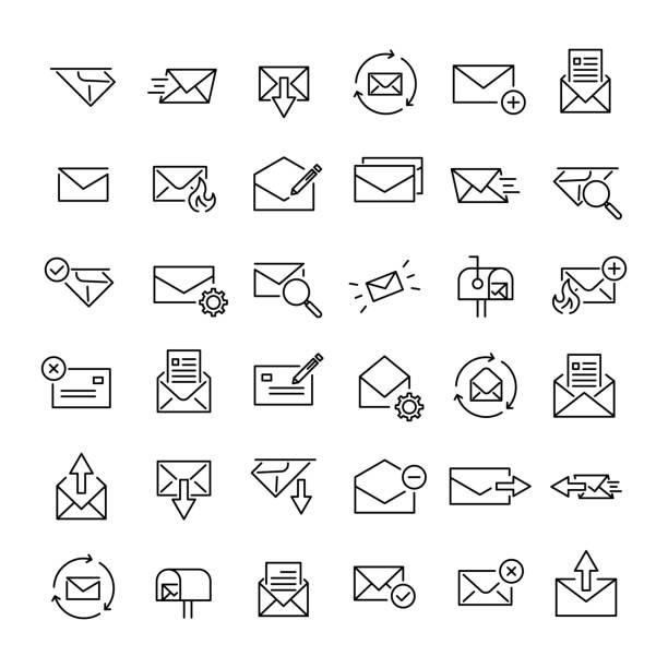 Satz von 36 Mail dünne Linie-Symbole – Vektorgrafik
