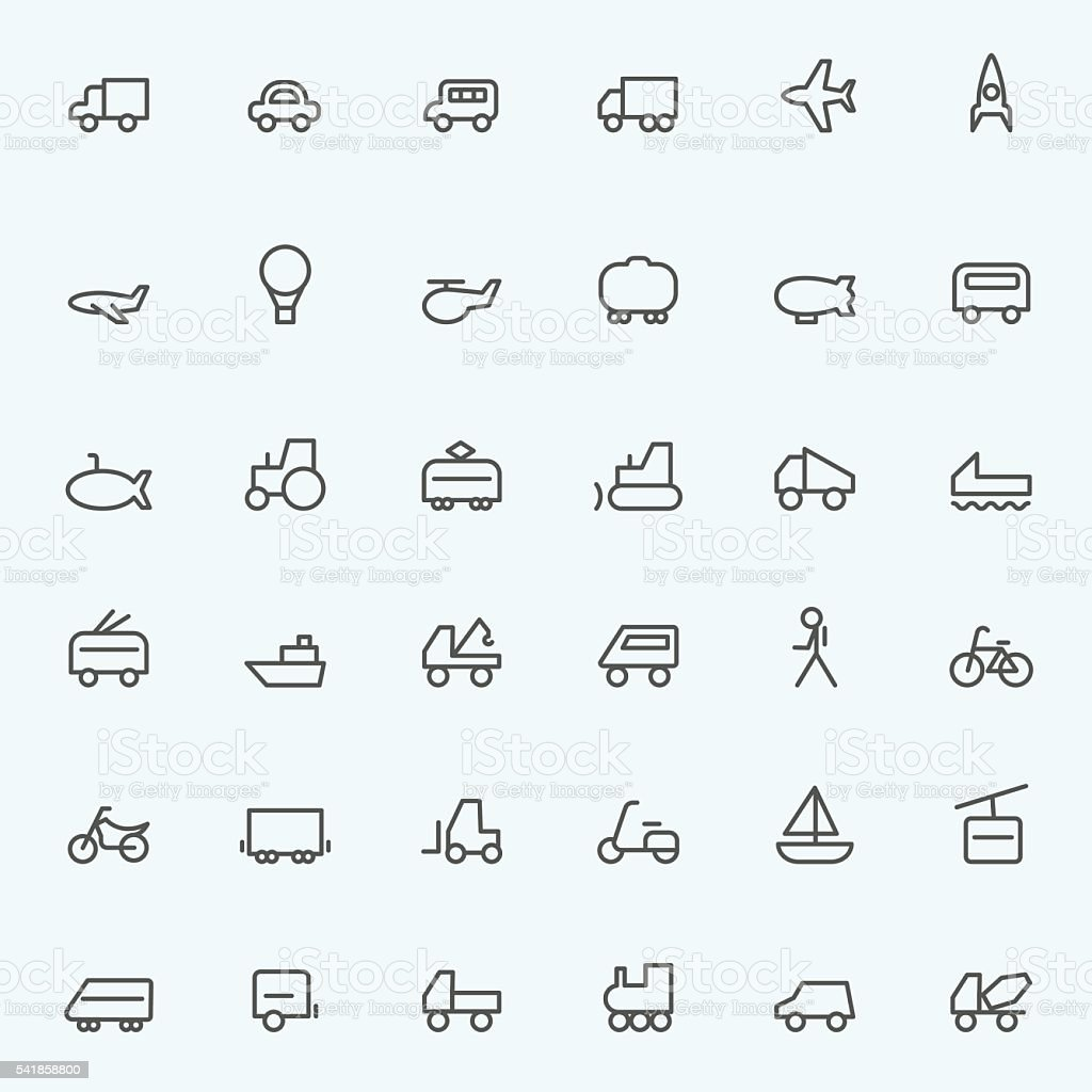 Set of 36 Transport icons vector art illustration