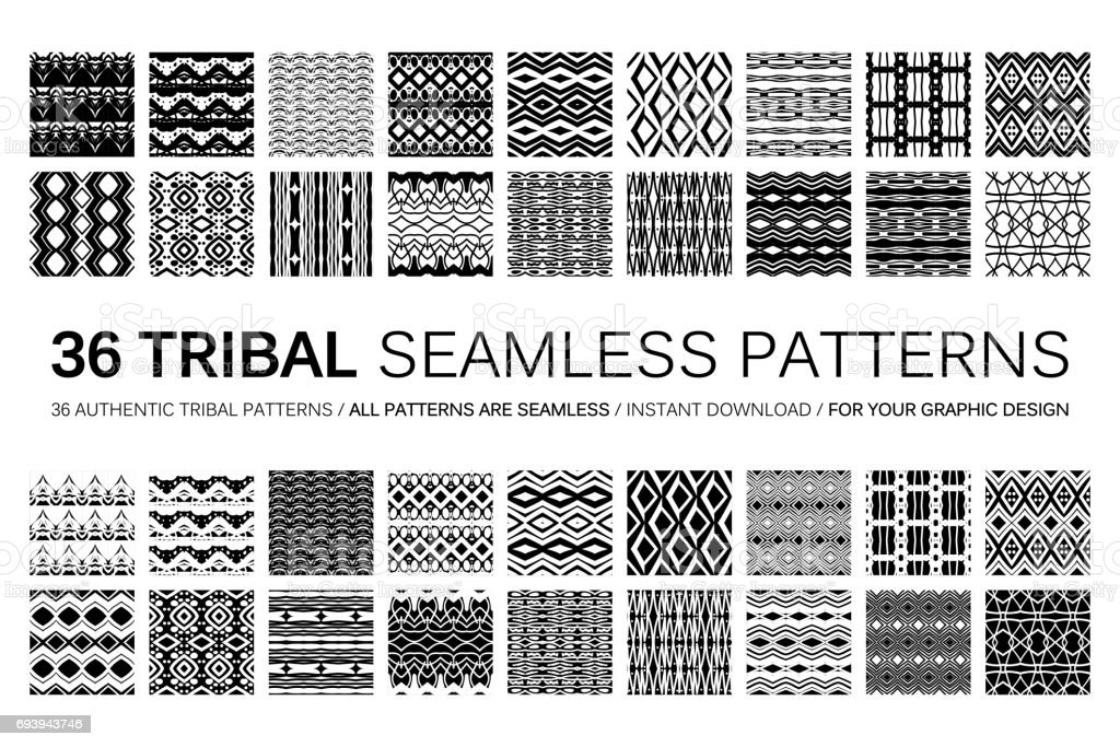 Set of 36 tribal seamless patterns. vector art illustration