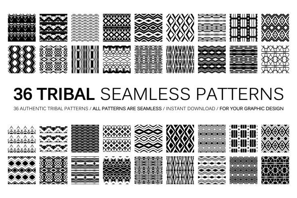 set of 36 tribal seamless patterns. - tribal pattern stock illustrations, clip art, cartoons, & icons