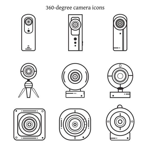 stockillustraties, clipart, cartoons en iconen met set van 360 graden camera iconen in dunne lijn ontwerp. - gopro