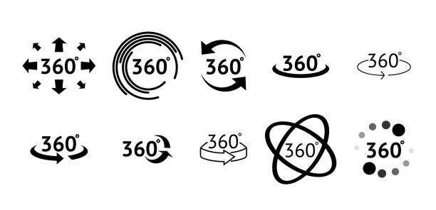 Set of 360 Degree View icons. Signs with arrows to indicate the rotation or panoramas to 360 degrees Set of 360 Degree View icons. Signs with arrows to indicate the rotation or panoramas to 360 degrees tourism stock illustrations