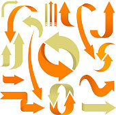 Vector illustration. Set of 3D arrows in orange and beige.