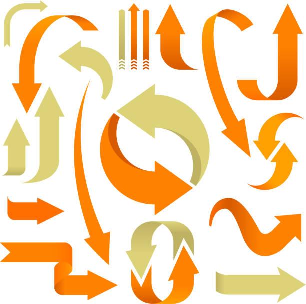 Set of 3D arrows in orange and beige. Vector illustration. Set of 3D arrows in orange and beige. curve stock illustrations