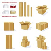Set of 3D Cardboard Packing Boxes and Mailing Tubes