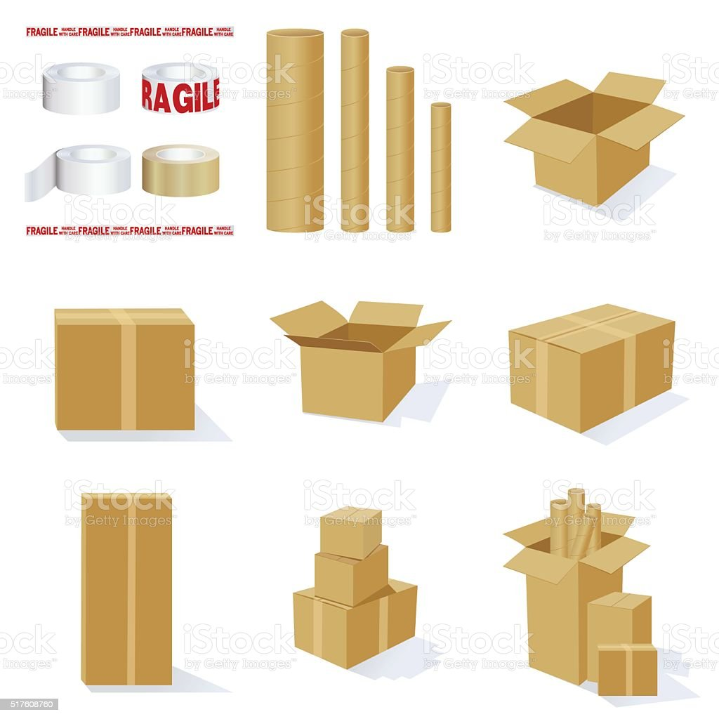 Set of 3D Cardboard Packing Boxes and Mailing Tubes vector art illustration