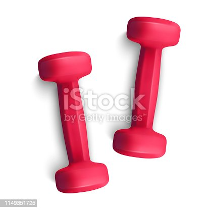 Set of 3d Dumbbells Set, Realistic Detailed Close Up View Isolated on White Background. Sport Element. Vector illustration of Fitness Dumbbell