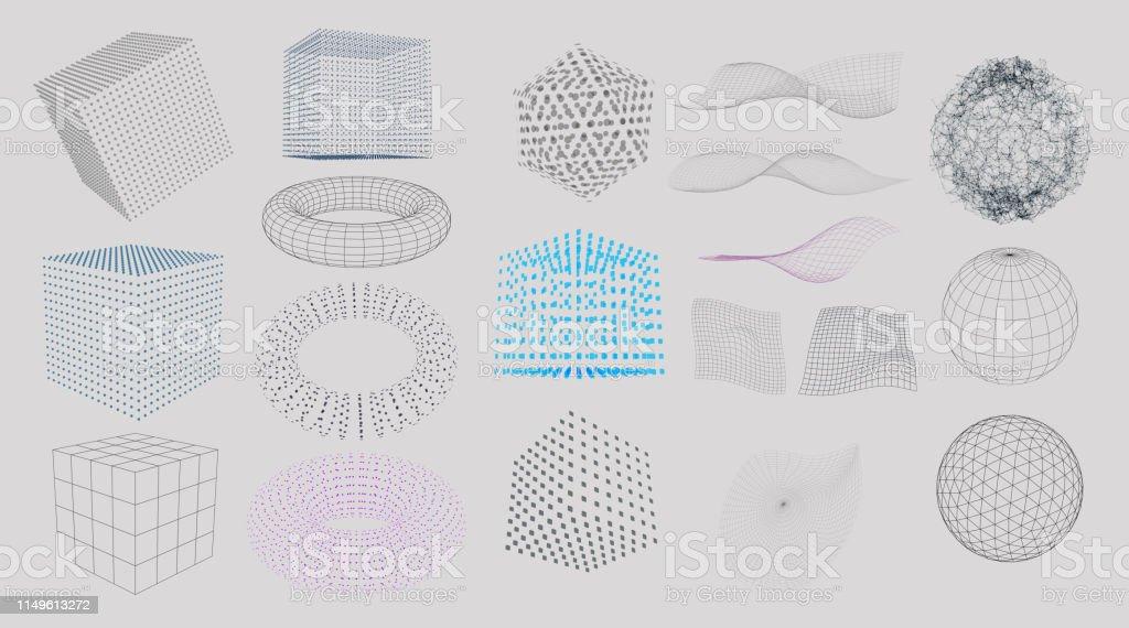 3D 요소 집합 - 로열티 프리 0명 벡터 아트