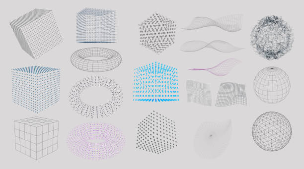 Set of 3D Elements Set of 3D Elements - particles, lines and blocks three dimensional stock illustrations