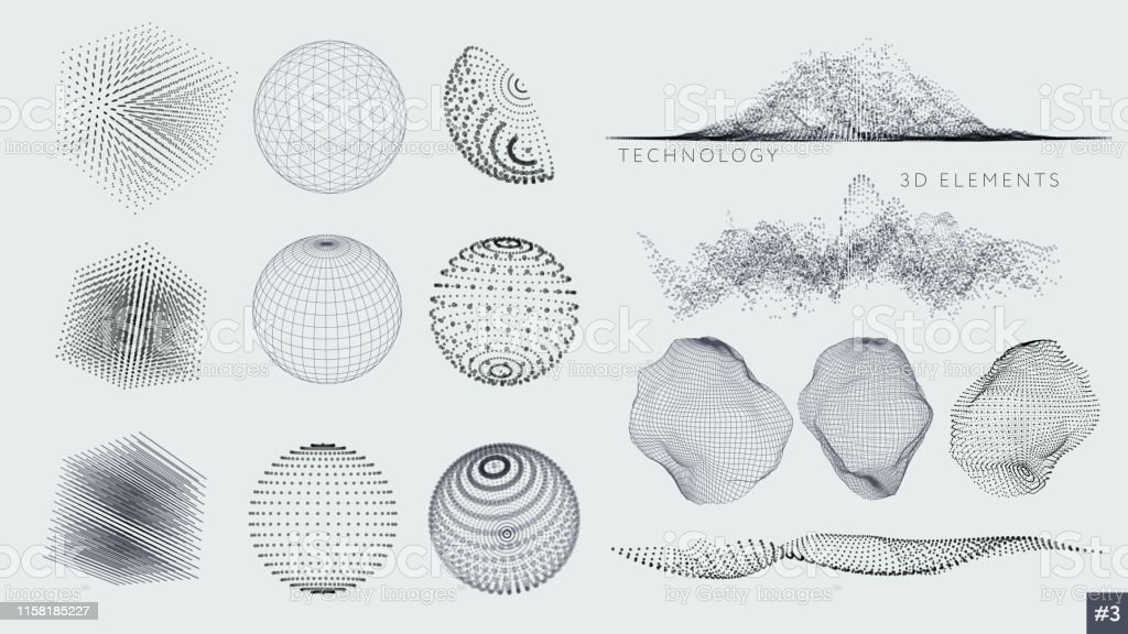 Ensemble d'éléments 3D - clipart vectoriel de Abstrait libre de droits