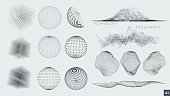 Set of 3D Elements - particles, lines and blocks