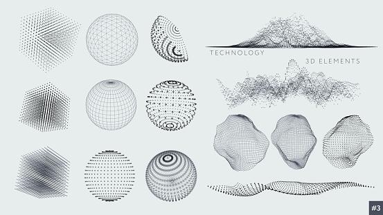 Ensemble Déléments 3d Vecteurs libres de droits et plus d'images vectorielles de Abstrait