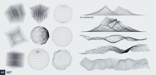 Satz von 3D-Elementen – Vektorgrafik