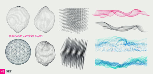 Set of 3D Elements Set of 3D Elements - particles, lines and blocks sine wave stock illustrations