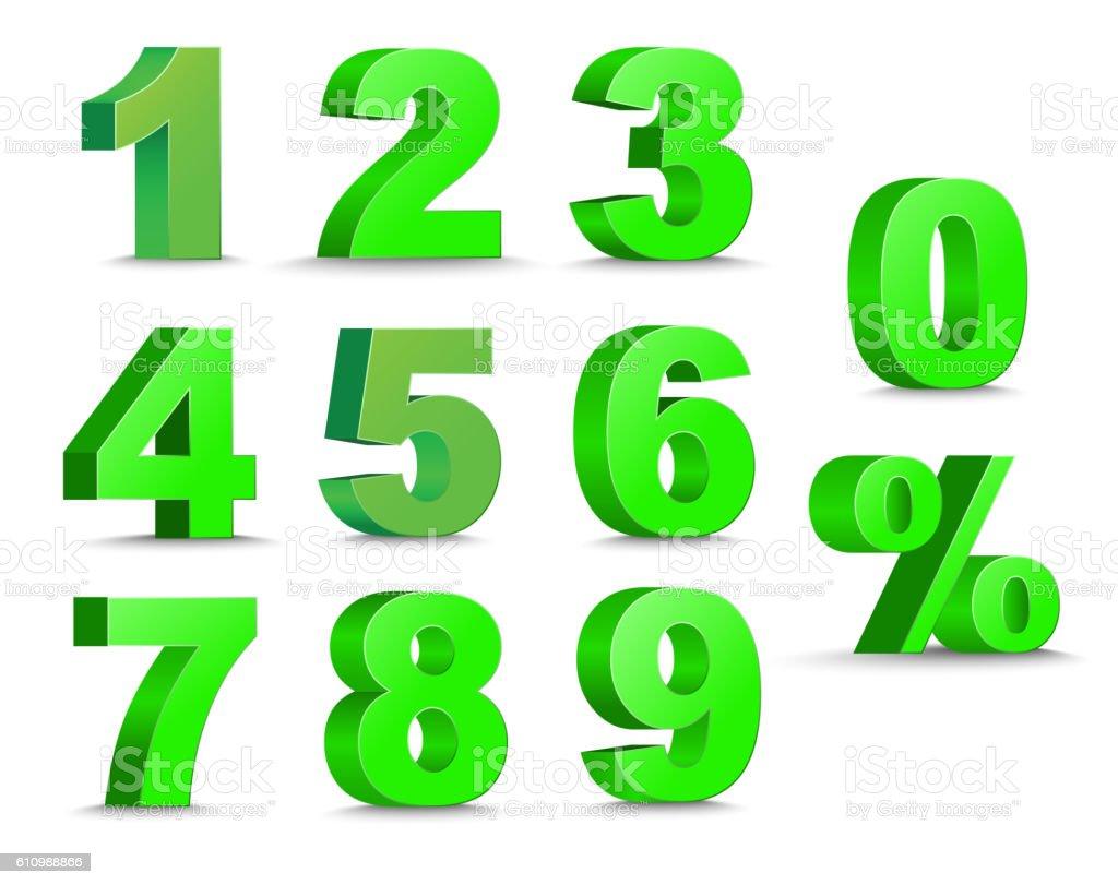 set of 3D figures and percent sign. vector art illustration