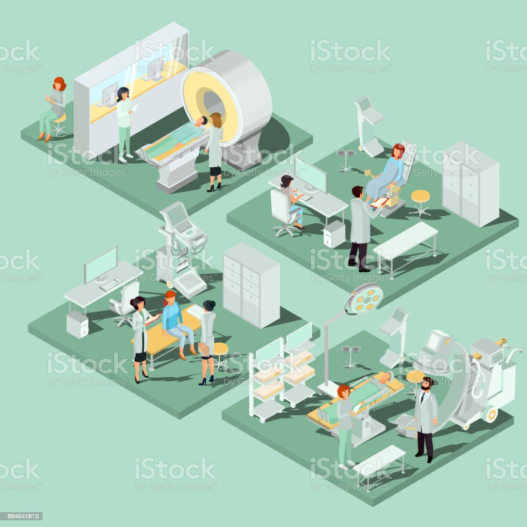 Set of 3D flat isometric illustrations of medical premises in the clinic with the appropriate equipment vector art illustration