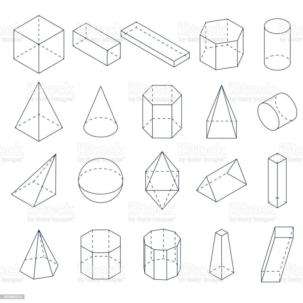 A set of 3D geometric shapes. Isometric views. vector art illustration