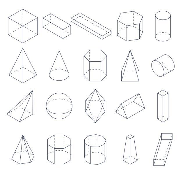 ilustrações de stock, clip art, desenhos animados e ícones de a set of 3d geometric shapes. isometric views. - cilindro formas geométricas