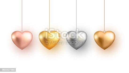istock Set of 3d gold heart, vector illustration. 965507560