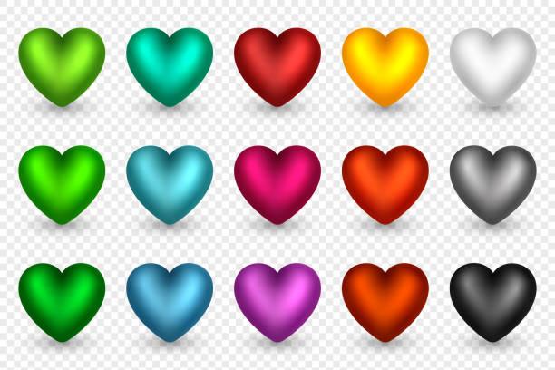 ilustrações de stock, clip art, desenhos animados e ícones de set of 3d hearts in different colors. decorative elements for holiday backgrounds, greeting, invitation, wedding, valentines day cards or posters, banners, flyers, vector illustration. - balão enfeite
