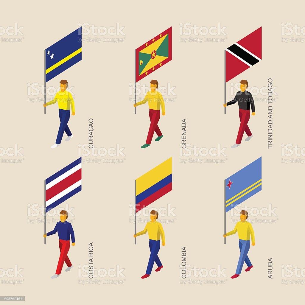 Set of 3d isometric people with flags of Caribbean countries - ilustração de arte em vetor