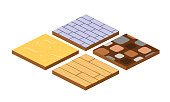 Set of 3d landscape design tiles with different surfaces of the earth - sand, wood, tile, stone. Elements to create a road surface, or the base of a map. Isometric vector, city constructor.