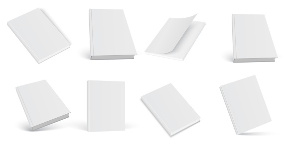 Set of 3d mock up open and closed books on white background. Vector.