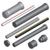 Set of various plastic pipes for sewage, water pipe and connecting flanges isolated on a white background. 3D isometric style, vector illustration.