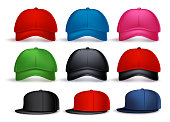 Set of 3D Realistic Baseball Cap for Man and Woman