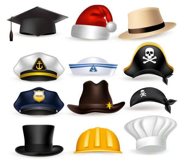bildbanksillustrationer, clip art samt tecknat material och ikoner med set of 3d realistic professional hat and cap vector illustration - hatt