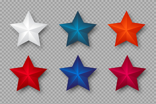 Set of 3d stars in colors of USA. Decorative elements for national american holiday design. Isolated on transparent background. Vector illustration.