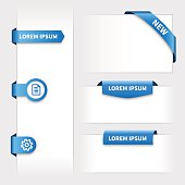Collection of rounded blue 3d stickers.