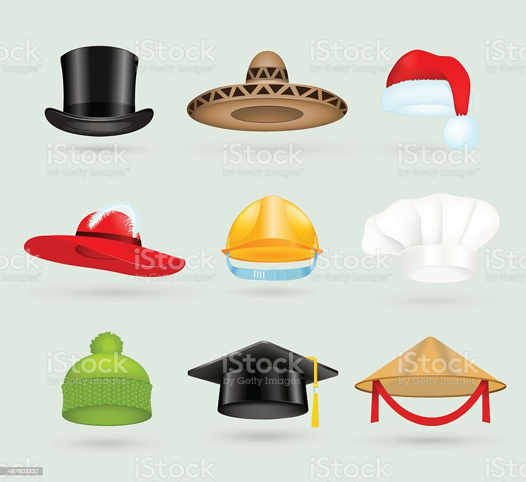 Set of 3d top hats different proffesions vector art illustration